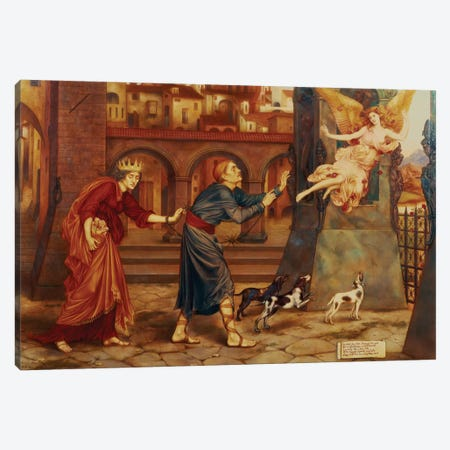 Blindness And Cupidity Chasing Joy From The City, 1897 Canvas Print #BMN7894} by Evelyn De Morgan Canvas Wall Art