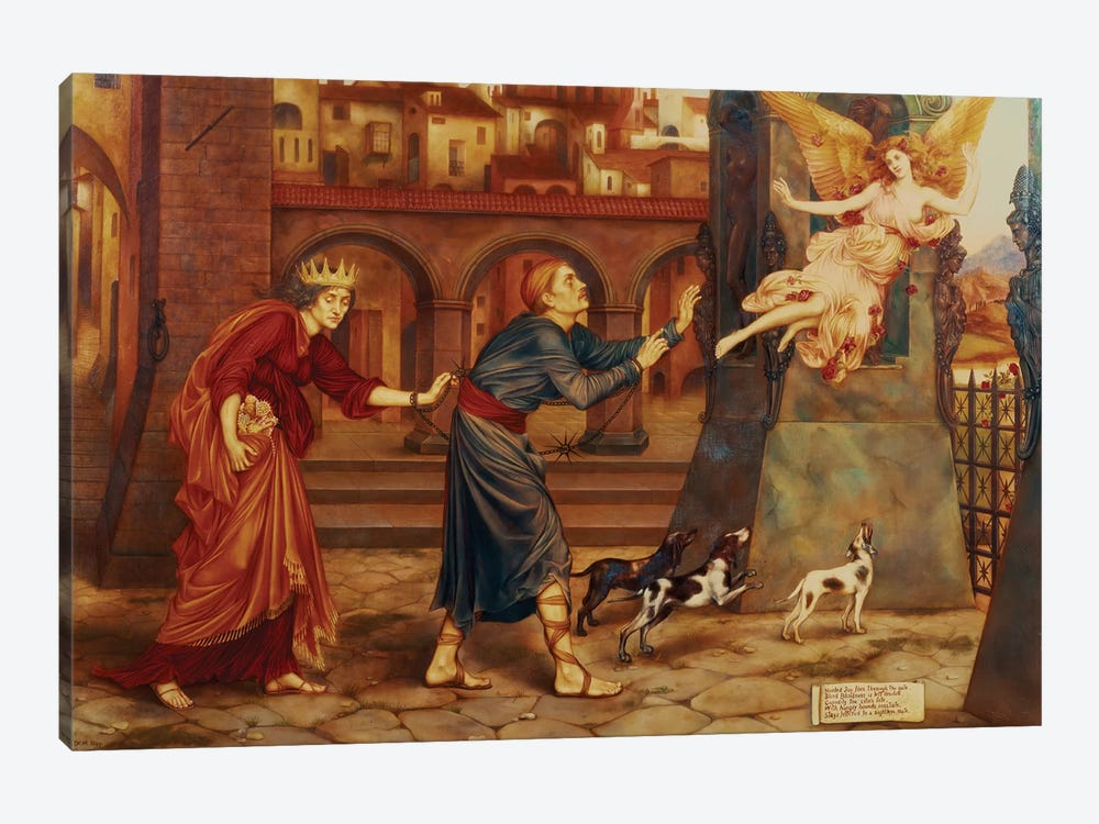 Blindness And Cupidity Chasing Joy From The City, 1897 by Evelyn De Morgan 1-piece Canvas Print
