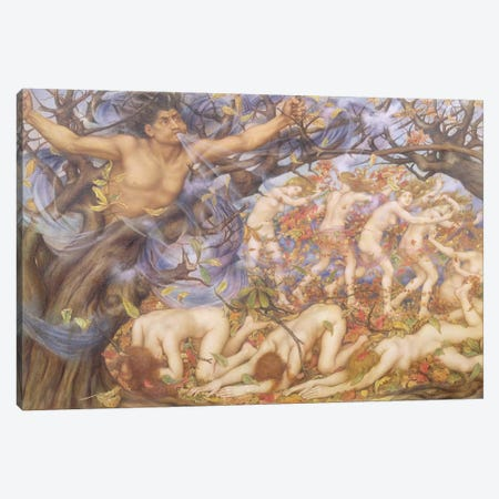 Boreas And Fallen Leaves Canvas Print #BMN7895} by Evelyn De Morgan Canvas Art