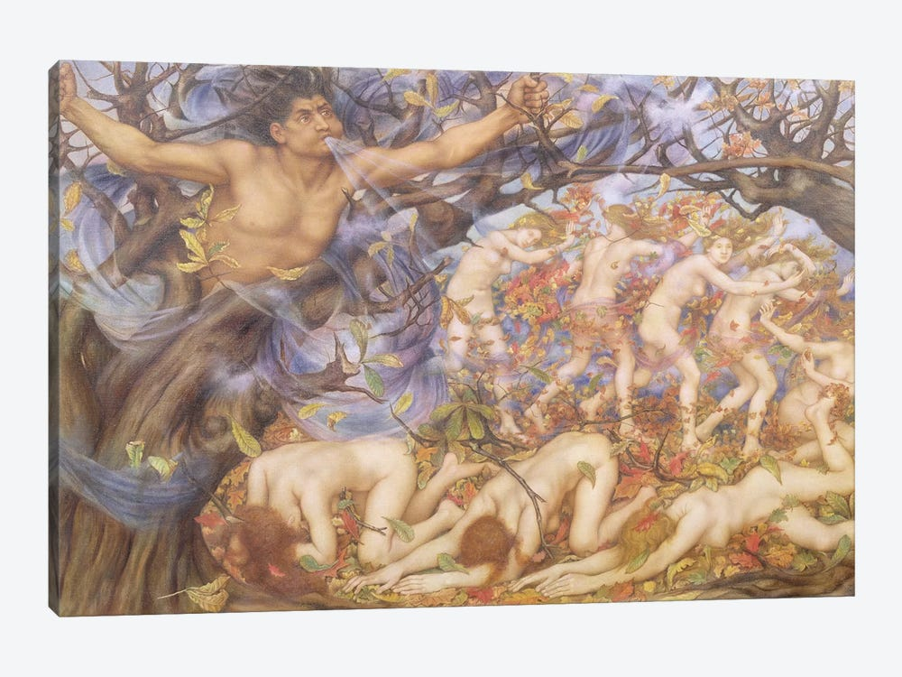 Boreas And Fallen Leaves by Evelyn De Morgan 1-piece Canvas Wall Art