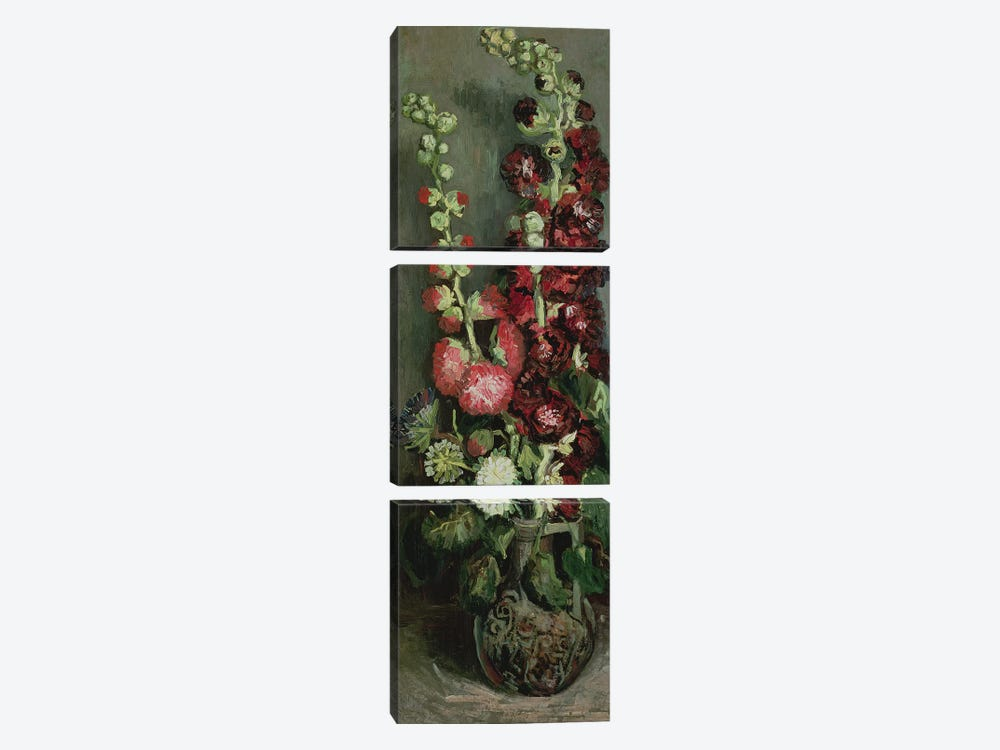 Vase of Hollyhocks, 1886  by Vincent van Gogh 3-piece Art Print