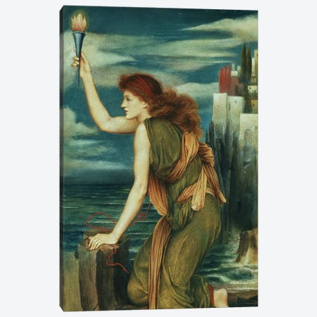 Hero Awaiting The Return Of Leander, 1885 Canvas Print #BMN7904} by Evelyn De Morgan Canvas Art
