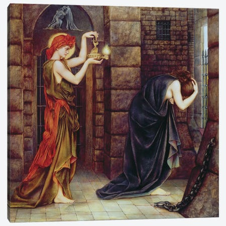 Hope In The Prison Of Despair Canvas Print #BMN7905} by Evelyn De Morgan Canvas Wall Art
