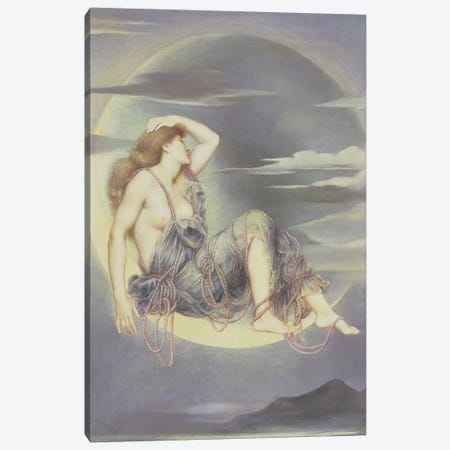 Luna, 1885 Canvas Print #BMN7906} by Evelyn De Morgan Canvas Artwork