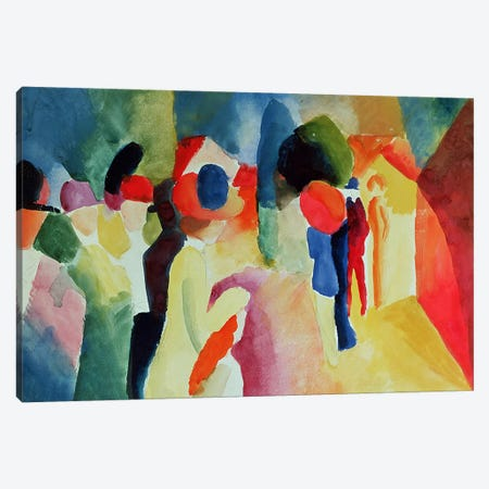 Woman with a Yellow Jacket, 1913  Canvas Print #BMN790} by August Macke Canvas Artwork