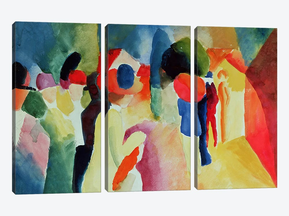 Woman with a Yellow Jacket, 1913  by August Macke 3-piece Canvas Print