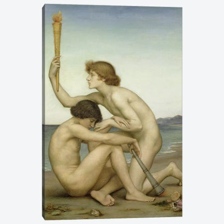 Phosphorus And Hesperus, 1881 Canvas Print #BMN7911} by Evelyn De Morgan Canvas Wall Art