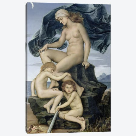 Sleep And Death, The Children Of The Night, 1883 3-Piece Canvas #BMN7915} by Evelyn De Morgan Canvas Art Print