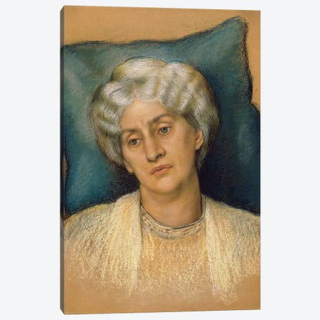 Study For 'the Hour Glass': Portrait Of Mrs. William Morris. c.1904-05 3-Piece Canvas #BMN7916} by Evelyn De Morgan Art Print