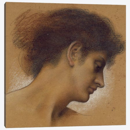 Study Of A Head II Canvas Print #BMN7918} by Evelyn De Morgan Canvas Art