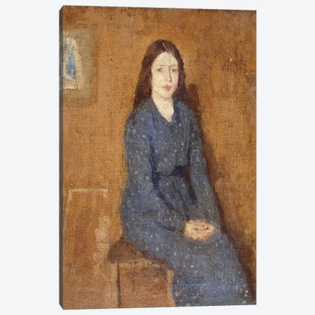 A Sitting Girl Wearing A Spotted Blue Dress, 1914-15 3-Piece Canvas #BMN7926} by Gwen John Canvas Art