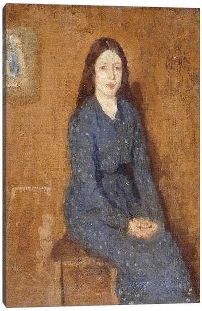 A Sitting Girl Wearing A Spotted Blue Dress, 1914-15 Canvas Art Print