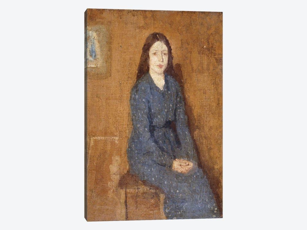A Sitting Girl Wearing A Spotted Blue Dress, 1914-15 1-piece Art Print