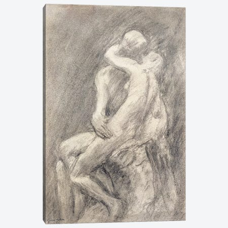A Study Of Rodin's Kiss In His Studio 3-Piece Canvas #BMN7928} by Gwen John Art Print