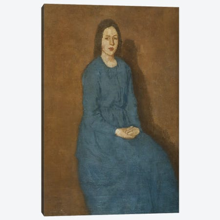 A Young Woman In Blue, c.1914-15 3-Piece Canvas #BMN7929} by Gwen John Canvas Print