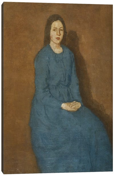 A Young Woman In Blue, c.1914-15 Canvas Art Print