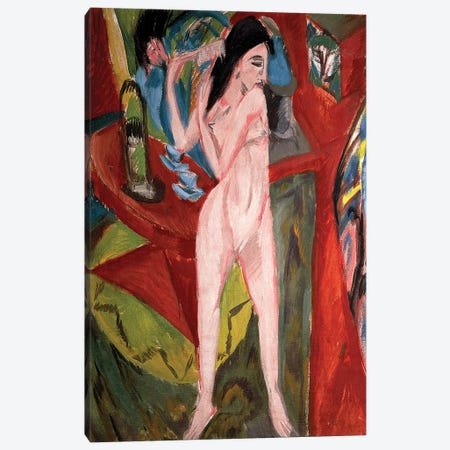Nude Woman Combing Her Hair, 1913  Canvas Print #BMN792} by Ernst Ludwig Kirchner Canvas Art