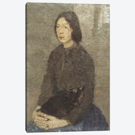 Girl With Cat In Her Lap Canvas Print #BMN7931} by Gwen John Canvas Artwork