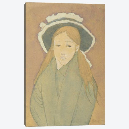 Girl With Large Hat And Straw-Coloured Hair, 1910s 3-Piece Canvas #BMN7932} by Gwen John Canvas Wall Art