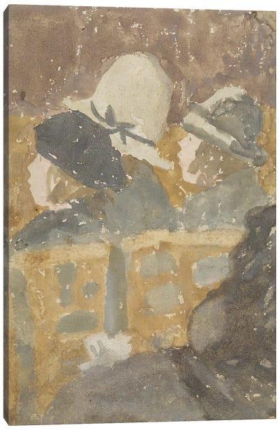 Girls In A Church (Gouache) Canvas Art Print