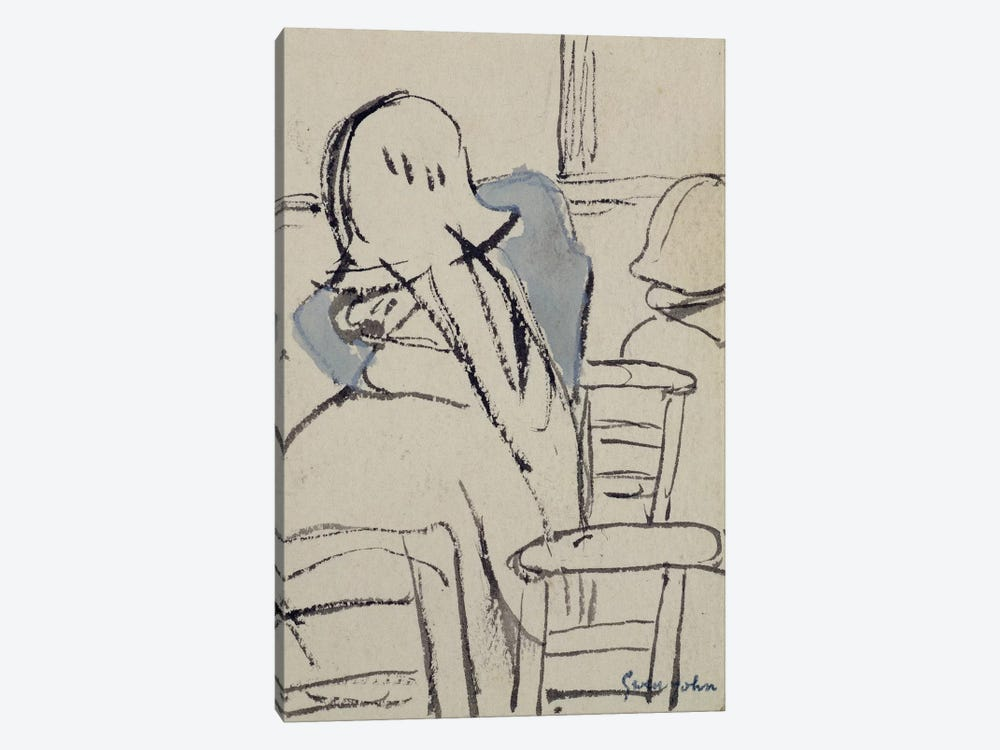 Girls In A Church (Ink & Watercolor) by Gwen John 1-piece Canvas Print