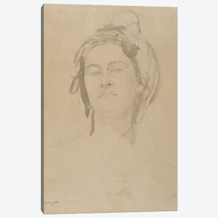 Head Of A Young Woman 3-Piece Canvas #BMN7937} by Gwen John Canvas Art Print