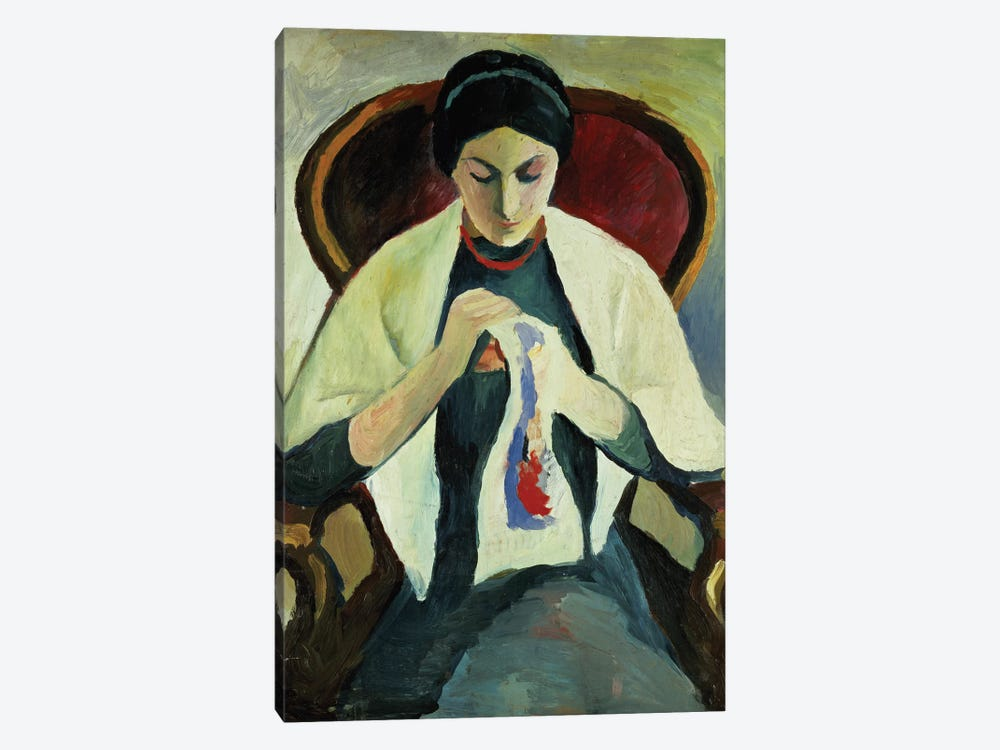 Woman Sewing by August Macke 1-piece Canvas Artwork
