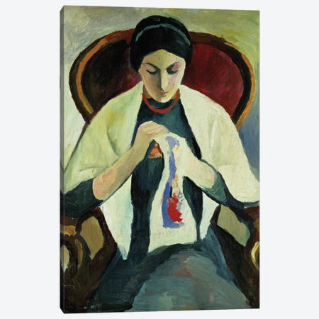 Woman Sewing 3-Piece Canvas #BMN793} by August Macke Canvas Wall Art