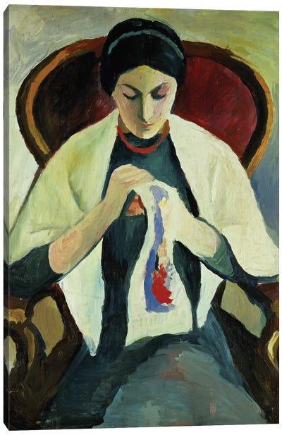Woman Sewing Canvas Art Print