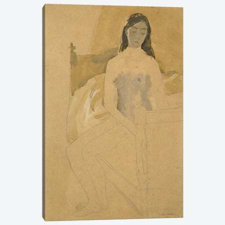 Self Portrait, Naked, Sitting On A Bed Canvas Print #BMN7947} by Gwen John Canvas Artwork