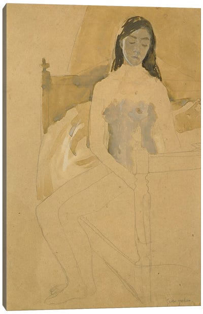 Self Portrait, Naked, Sitting On A Bed Canvas Art Print