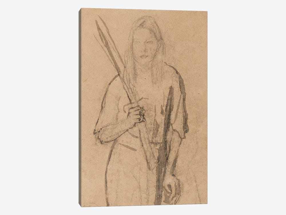 Standing Girl With Wooden Post In Her Hand by Gwen John 1-piece Canvas Print