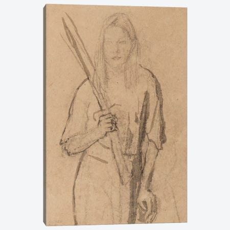 Standing Girl With Wooden Post In Her Hand 3-Piece Canvas #BMN7948} by Gwen John Art Print