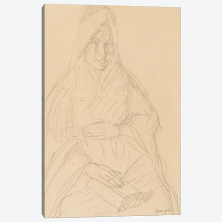 Study For 'Mere Poussepin Seated At A Table', c.1915 3-Piece Canvas #BMN7949} by Gwen John Canvas Print