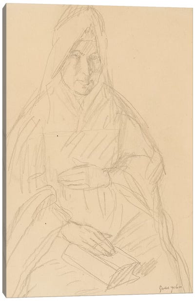 Study For 'Mere Poussepin Seated At A Table', c.1915 Canvas Art Print