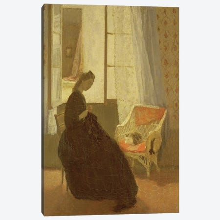 Woman Sewing At A Window 3-Piece Canvas #BMN7961} by Gwen John Canvas Print