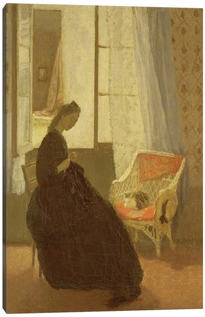 Woman Sewing At A Window Canvas Art Print