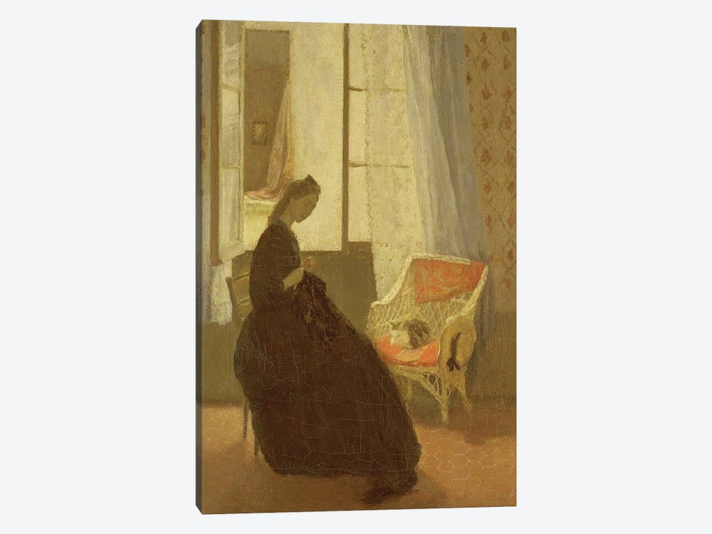 Woman Sewing At A Window by Gwen John 1-piece Canvas Artwork