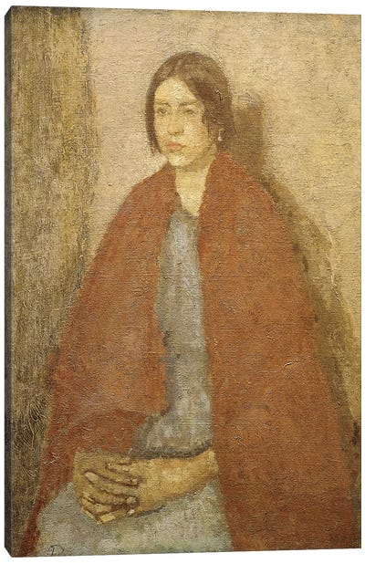 Young Woman In A Red Shawl, Canvas Art Print