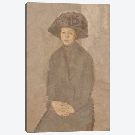 Young Woman Wearing A Large Hat, c.1917-25 Canvas Print #BMN7964} by Gwen John Canvas Wall Art