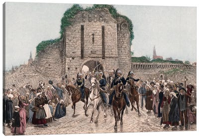 Cavalry Leaving A Breton City Canvas Art Print