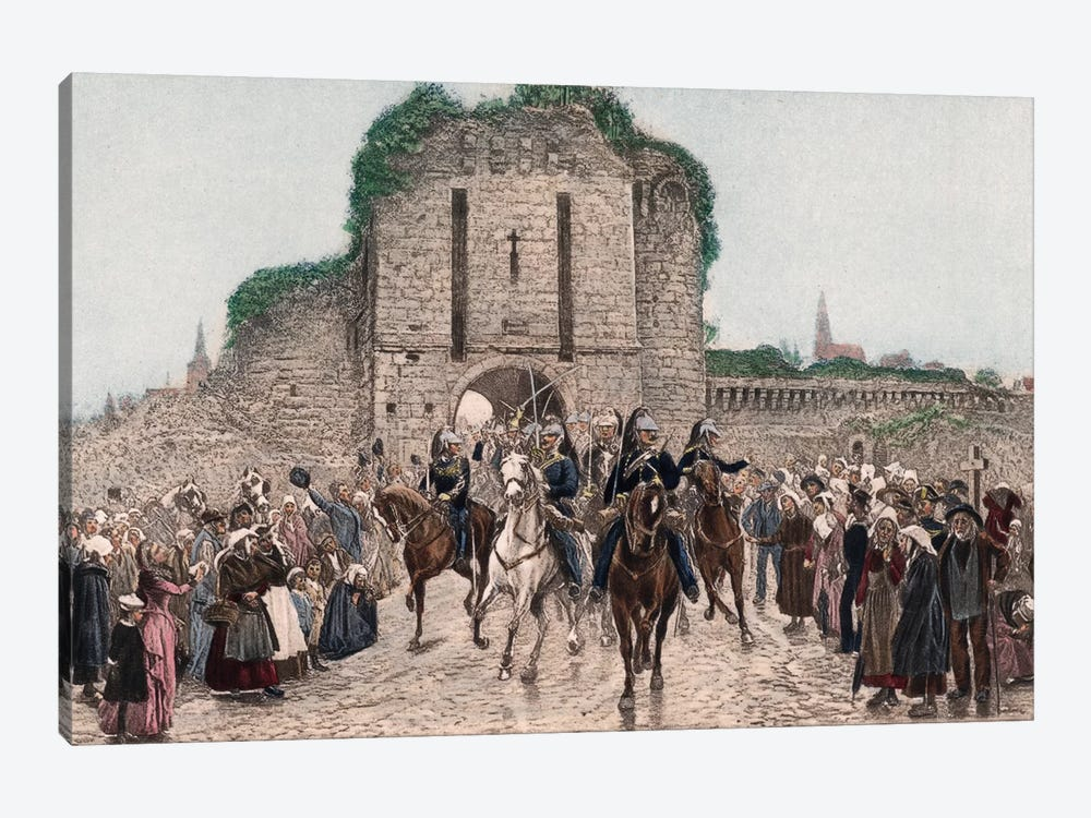 Cavalry Leaving A Breton City 1-piece Canvas Artwork