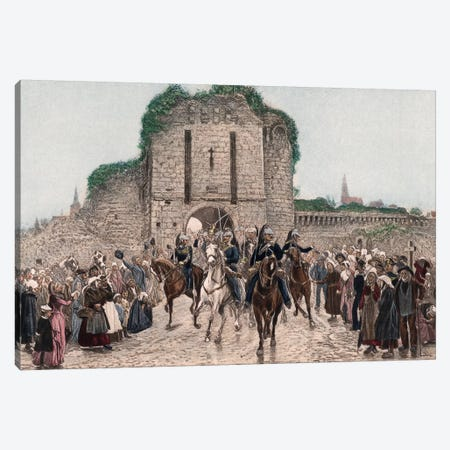 Cavalry Leaving A Breton City 3-Piece Canvas #BMN7970} by Lady Butler Canvas Artwork