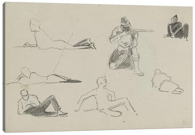 Possible Studies For 'Dawn Of Waterloo', 1893 Canvas Art Print