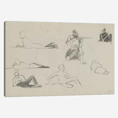 Possible Studies For 'Dawn Of Waterloo', 1893 3-Piece Canvas #BMN7974} by Lady Butler Canvas Print