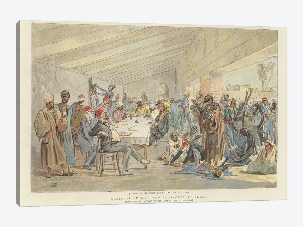 Registering Fellaheen For Military Service by Lady Butler 1-piece Art Print