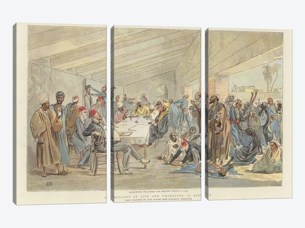 Registering Fellaheen For Military Service by Lady Butler 3-piece Art Print