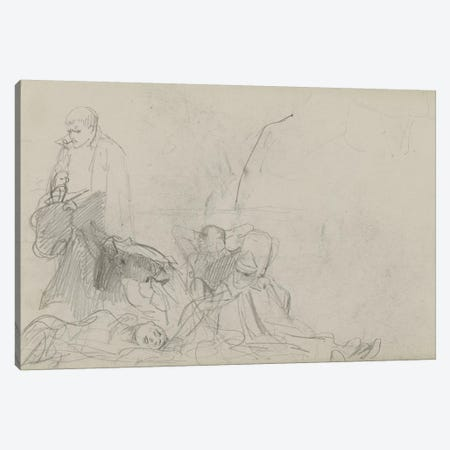 Study For 'Dawn Of Waterloo', 1893 II 3-Piece Canvas #BMN7982} by Lady Butler Art Print