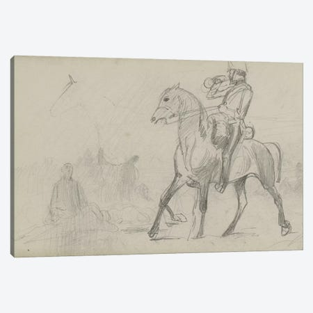Study For 'Dawn Of Waterloo', 1893 III 3-Piece Canvas #BMN7983} by Lady Butler Canvas Print