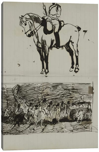 Study Of The Battle Of Waterloo, A Preliminary Sketch For The Oil Painting 'scotland For Ever!', c.1880 Canvas Art Print